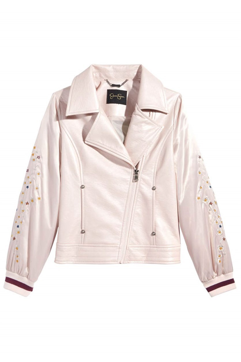 Big Girl's Embroidered Faux-Leather Moto Jacket, Pink