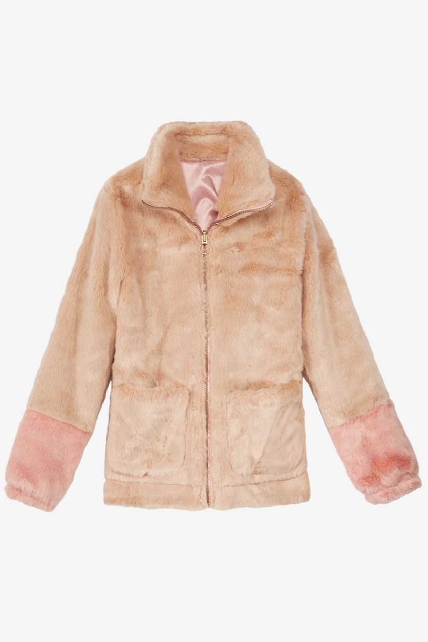 Big Girls Colorblocked Reversible Faux-Fur Jacket, Beige/Pink