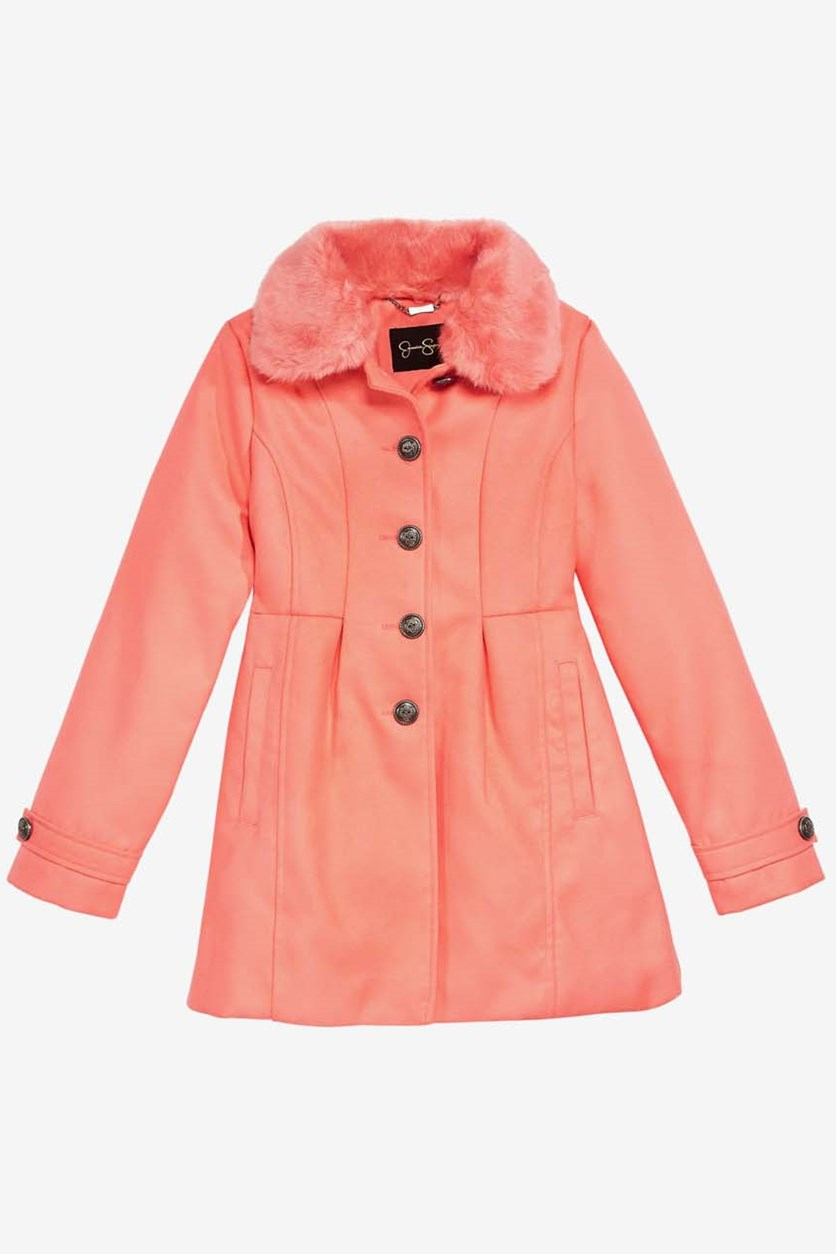 Little Girls Coat with Removable Faux-Fur Collar, Coral