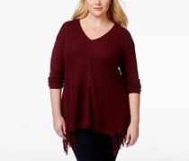 American Rag Plus Size Fringe V-Neck Sweater, Zinfindel