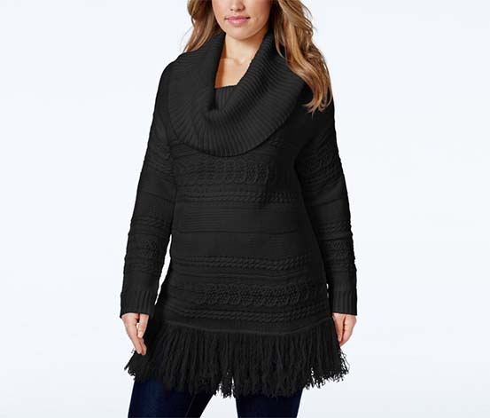 American Rag  Women's Black Cowl-neck Fringe-hem Sweater, Black