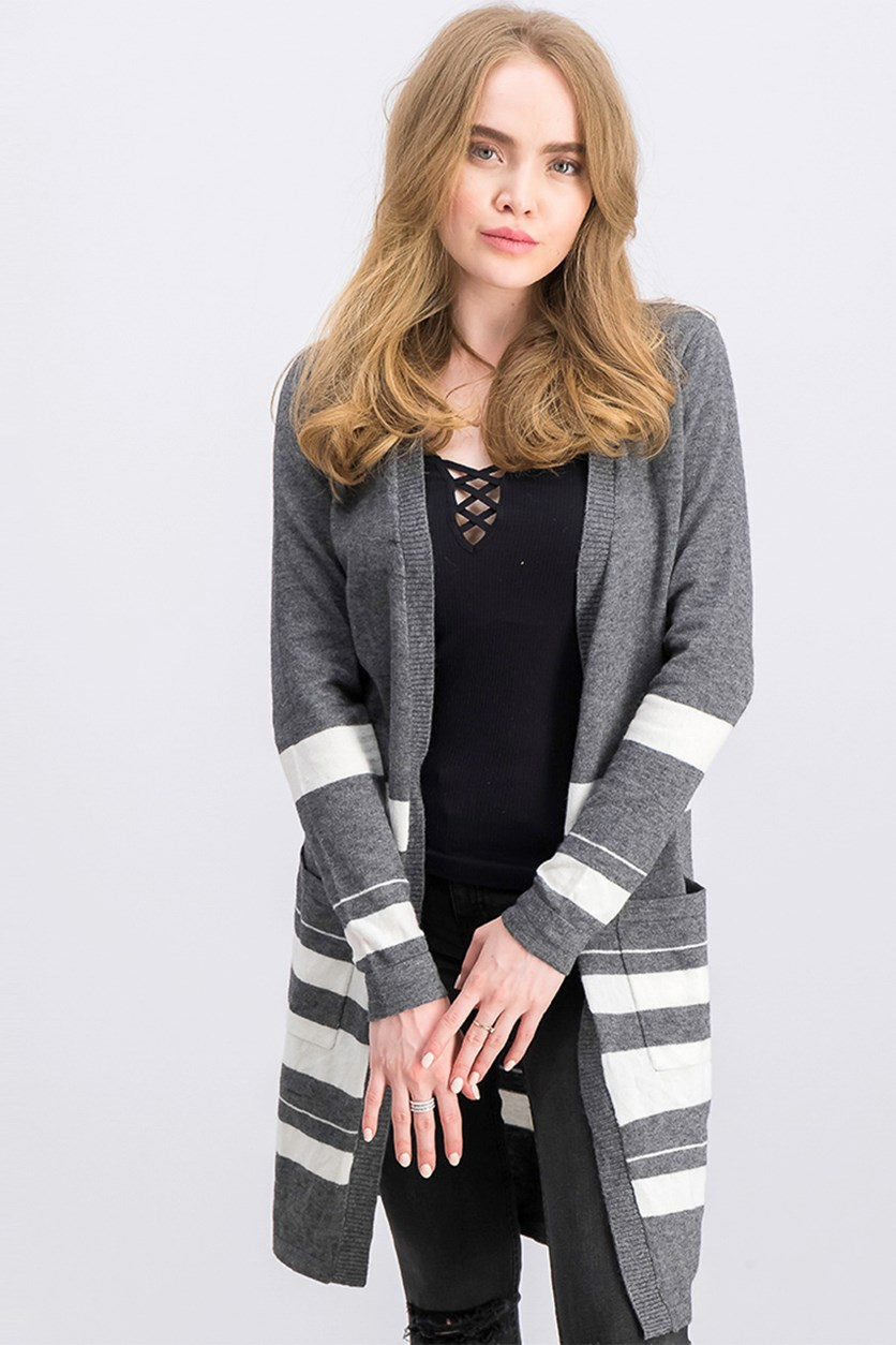 Women's Striped Front Pocket Cardigan, Grey Combo