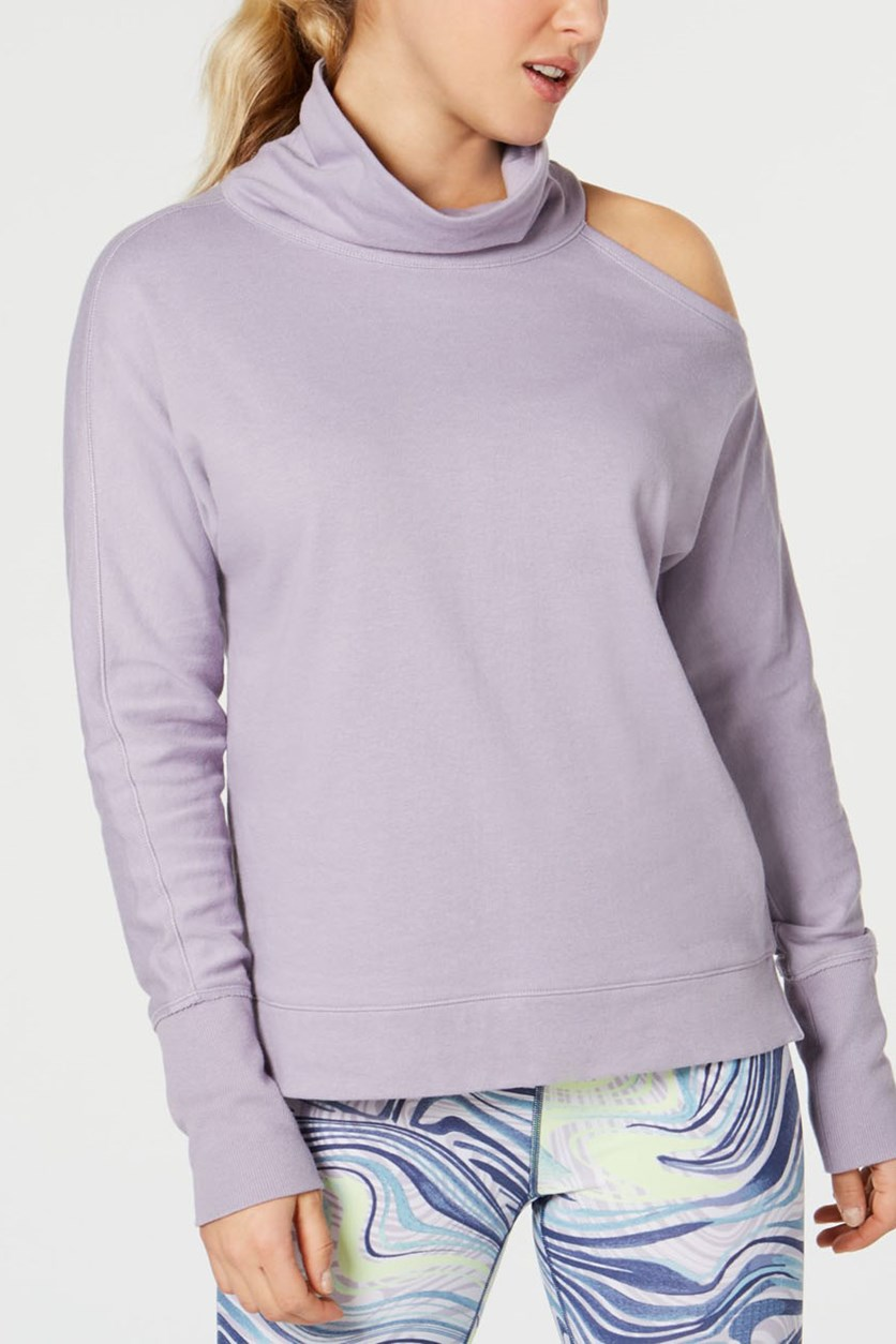 Women's Mock-Neck Cold-Shoulder Top, Purple
