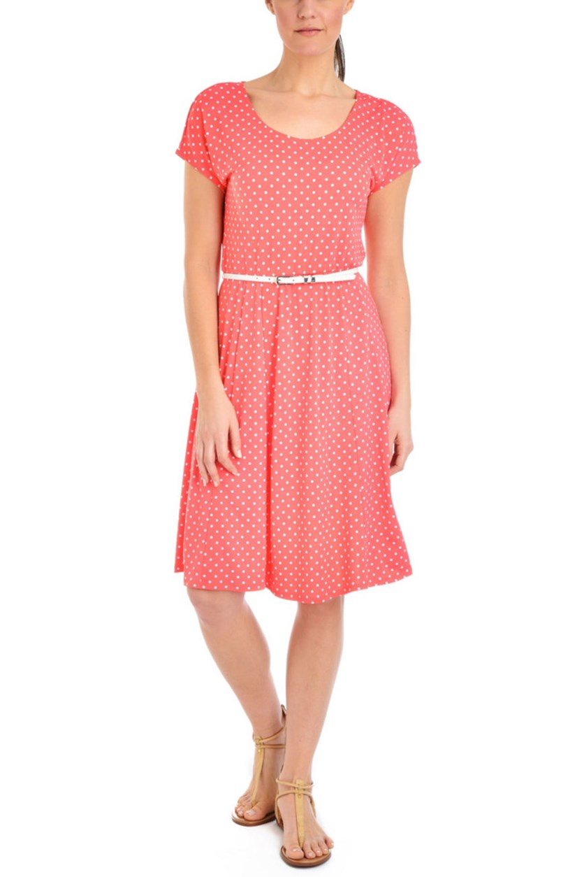 Petite a-Line Polka Dots Belted Dress, Coral Polkadance