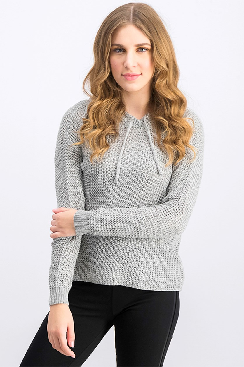 Women's Pointelle Hooded Sweater, Gray