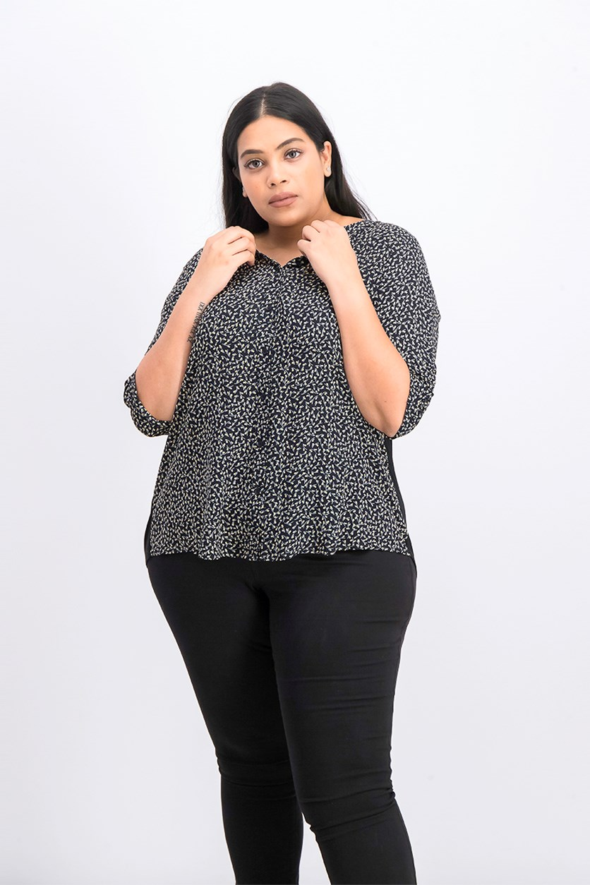 Women's Plus Size Allover Print Top, Black Combo