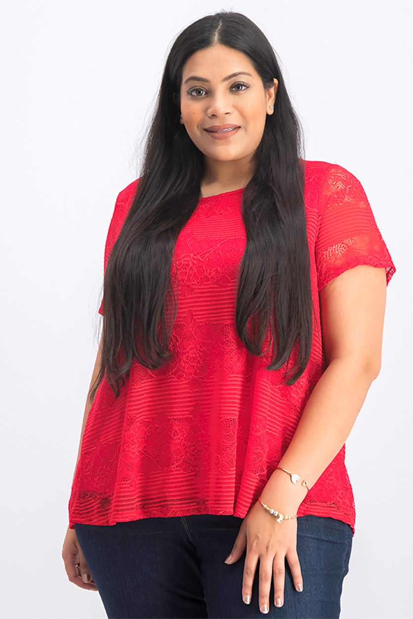 Women's Plus Size Floral Lace Blouse, Red