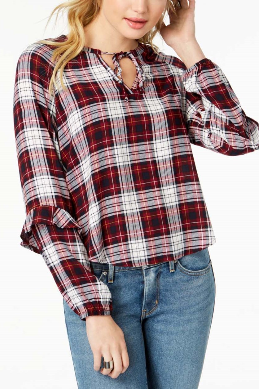 Juniors' Ruffled Plaid Tie-Neck Top, Red/Navy