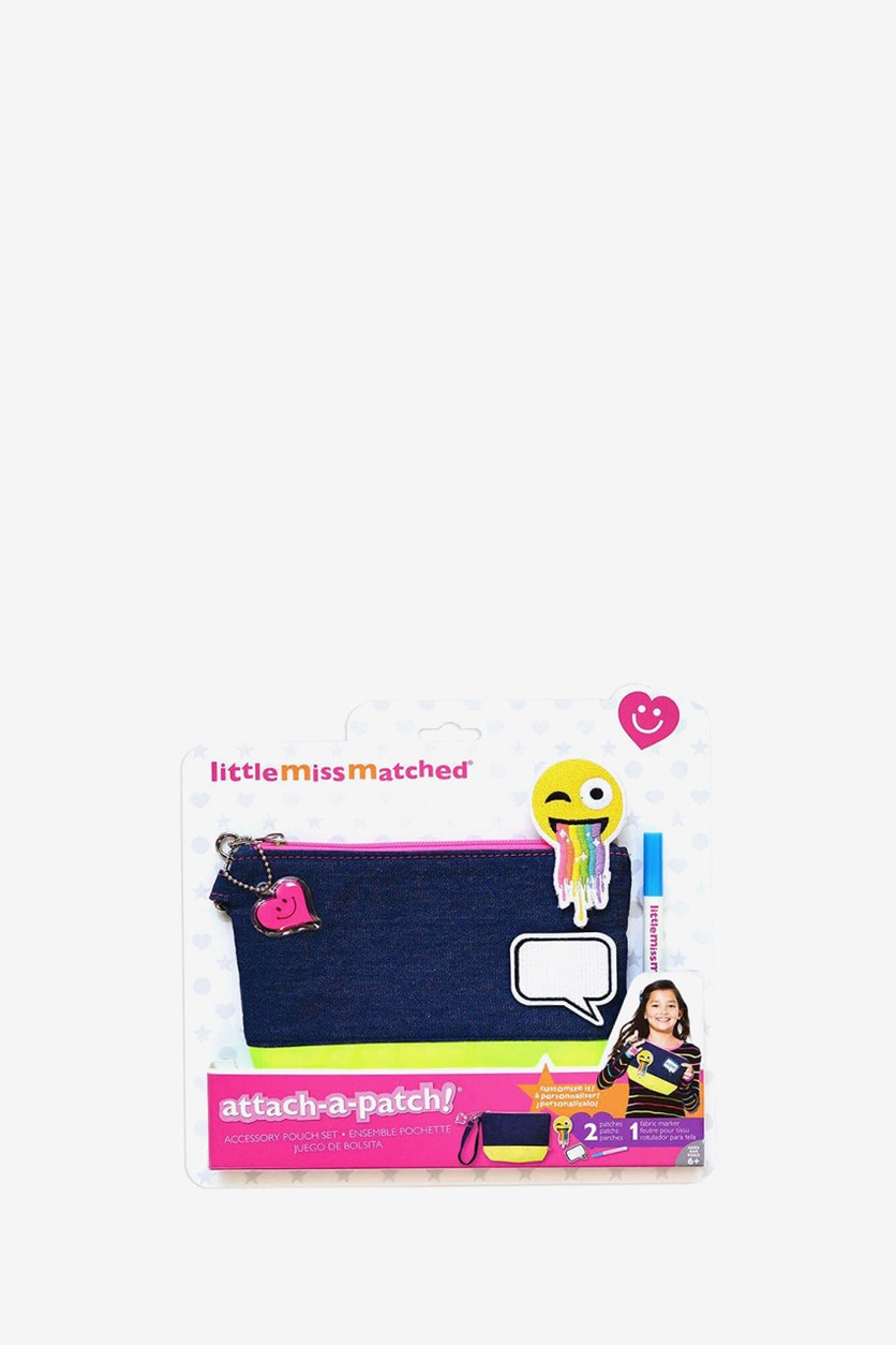 LittleMissMatched Attach-A-Patch Denim Accessorie Pouch Set, Denim