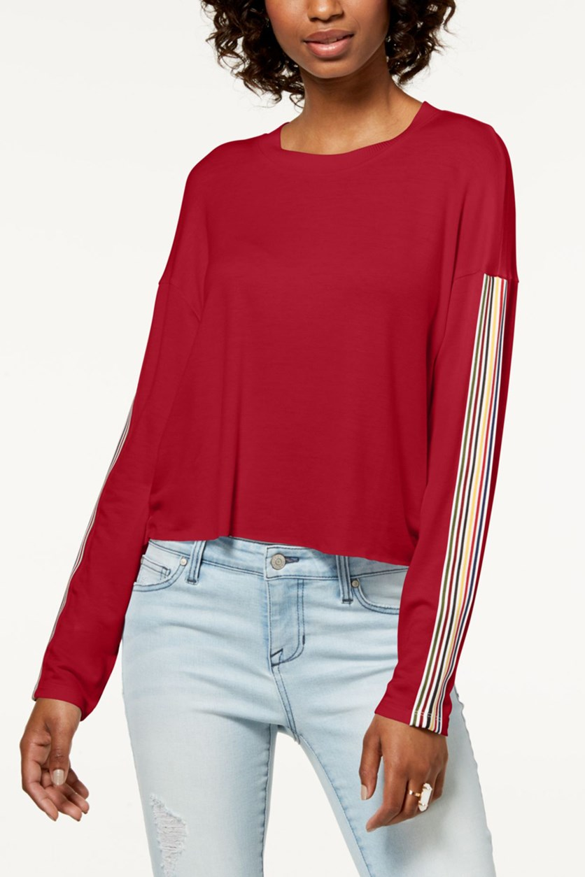 Juniors' Striped Long-Sleeve Top, Chili Pepper