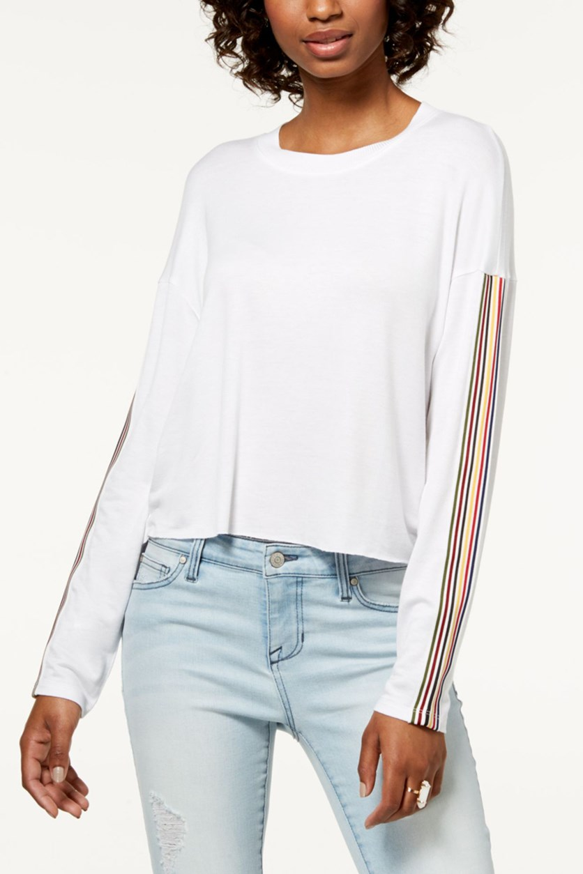 Juniors' Striped Long-Sleeve Top, White