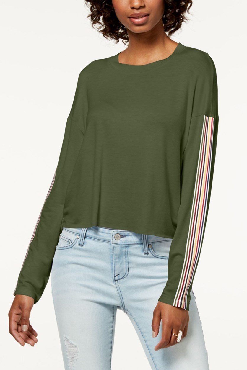 Juniors' Striped Long-Sleeve Top, Cypress