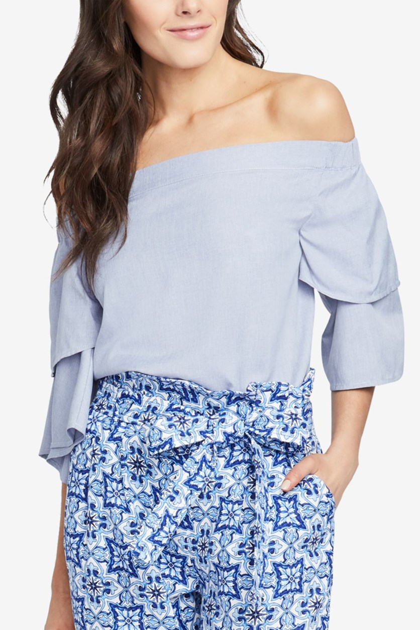 Women's Off Shoulder Ruffled Pullover Top, Ash Blue