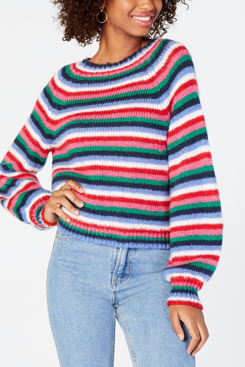 Juniors Fluffy Striped Sweater, Aqua Combo