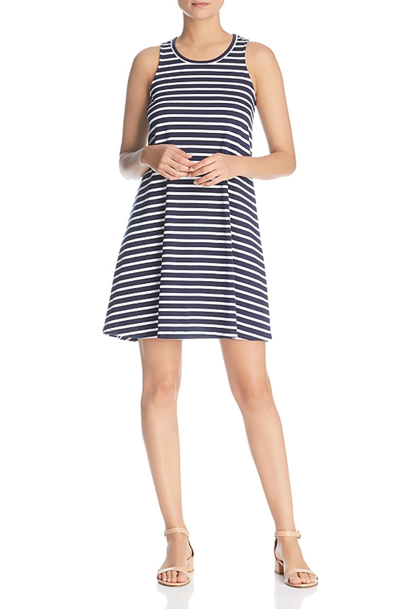 Women's Striped A-Line Dress, Navy/White