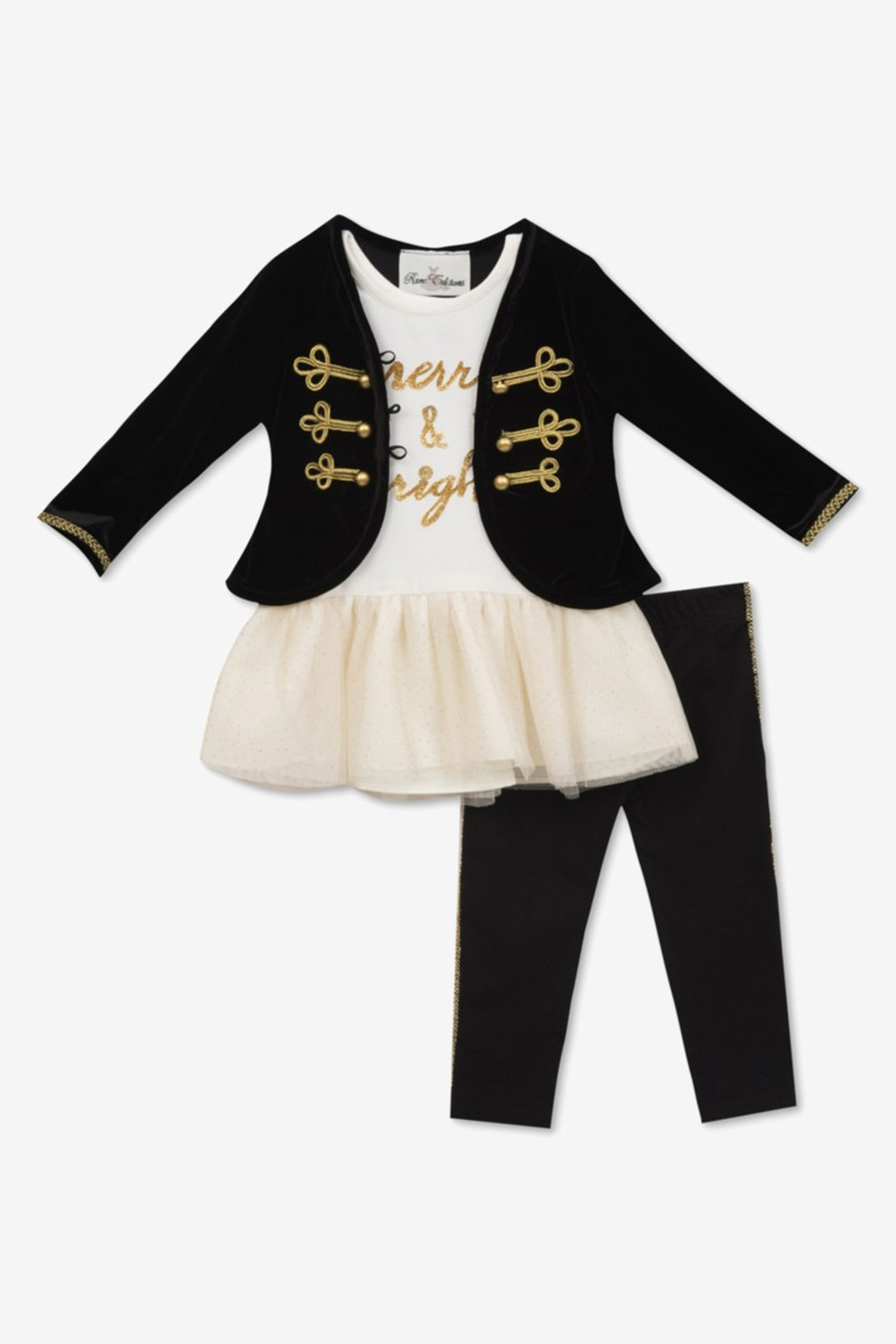 Toddlers 3-Pc. Military Jacket, Tutu Tunic & Leggings Set, Black/Ivory