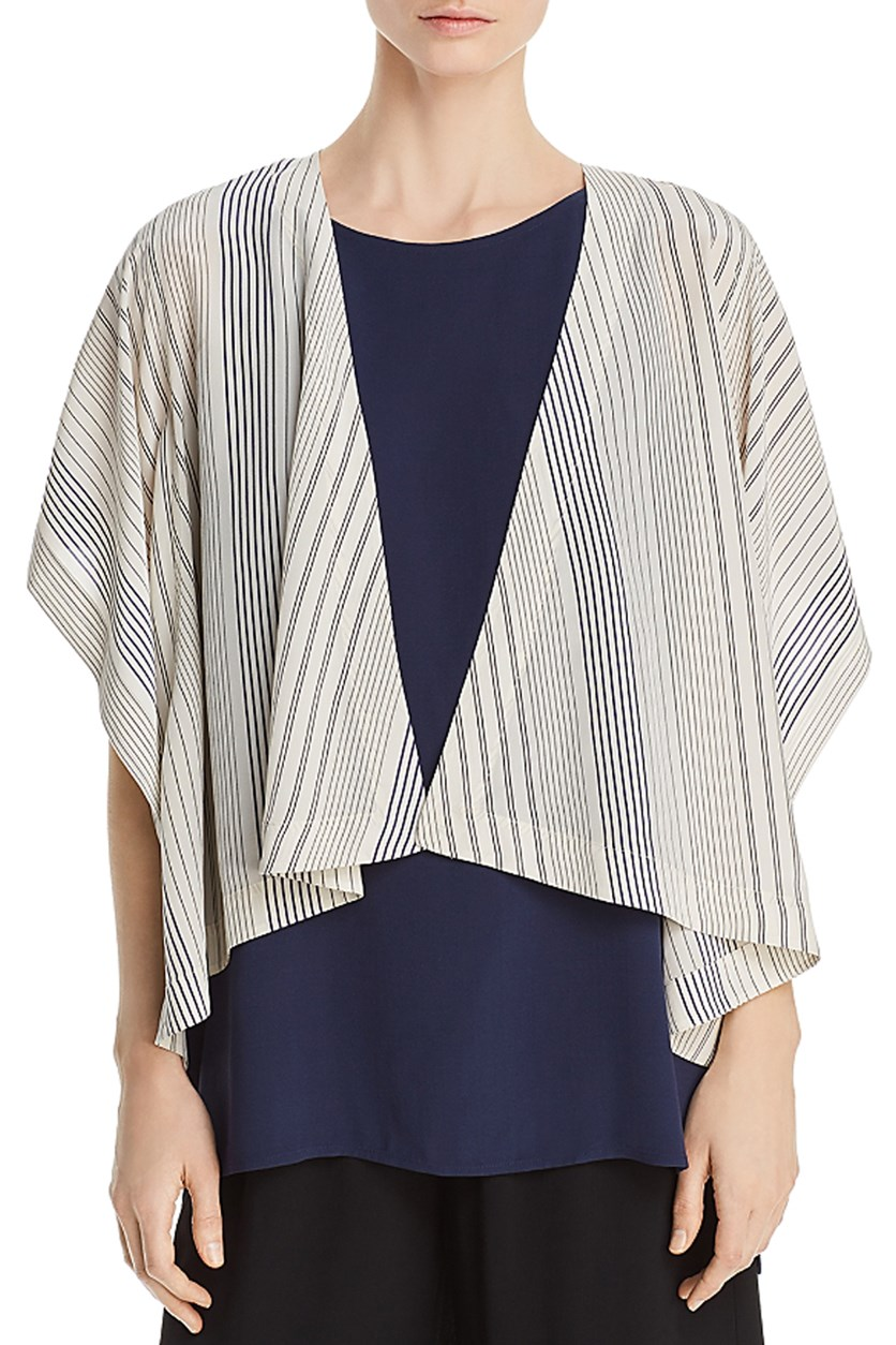 Women's Striped Silk Kimono Jacket, Bone
