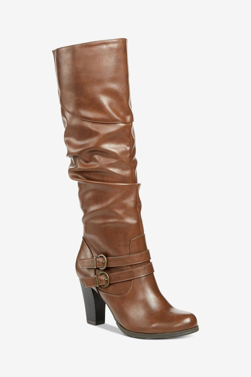 Women's Sanap Almond Toe Knee High Fashion Boots, Cognac