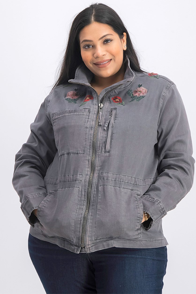 Women's Plus Size Embroidered Denim Jacket, Dark Gray