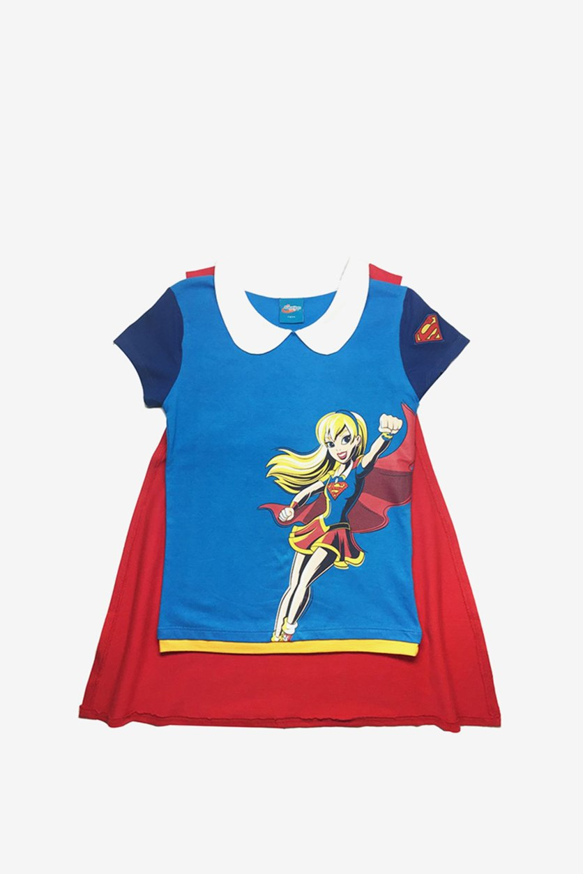 Supergirl Print T-shirt With Cape, Blue/Red Combo