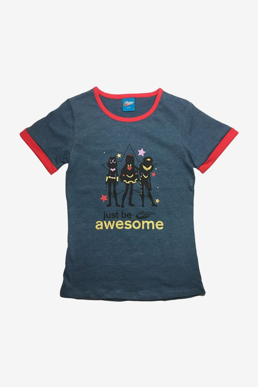 Just Be Awesome Print T-Shirt, Dark Blue