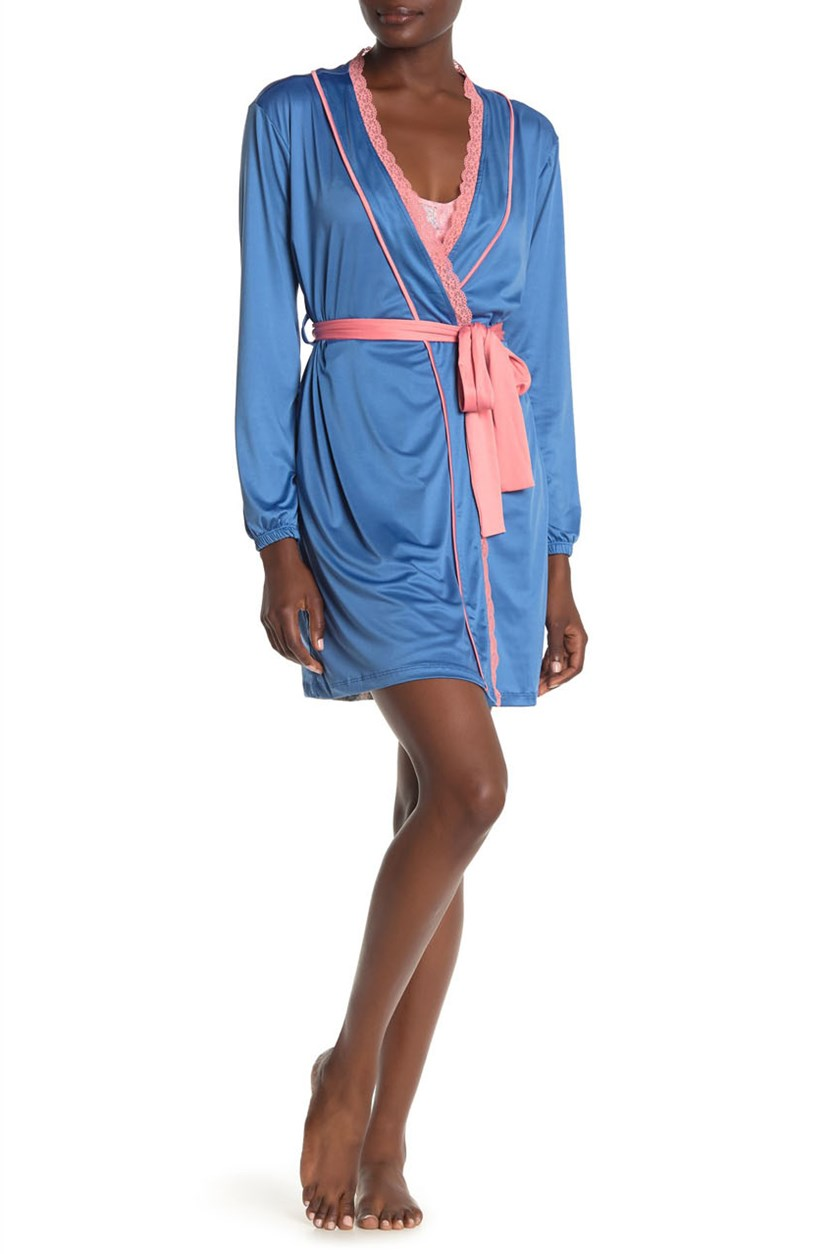 Women's Robe & Chemise 2-Piece Set, Blue/Pink