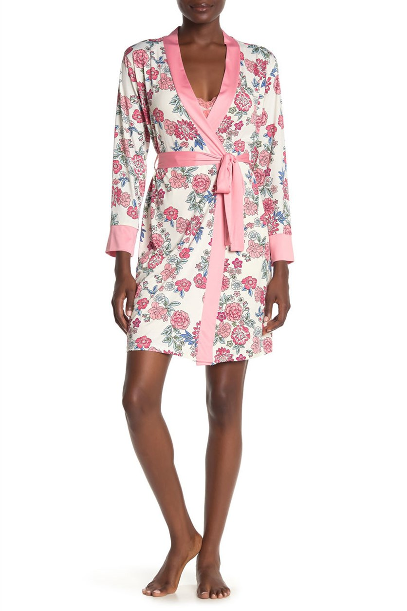 Women's Floral Robe & Chemise 2-Piece Set, Pink