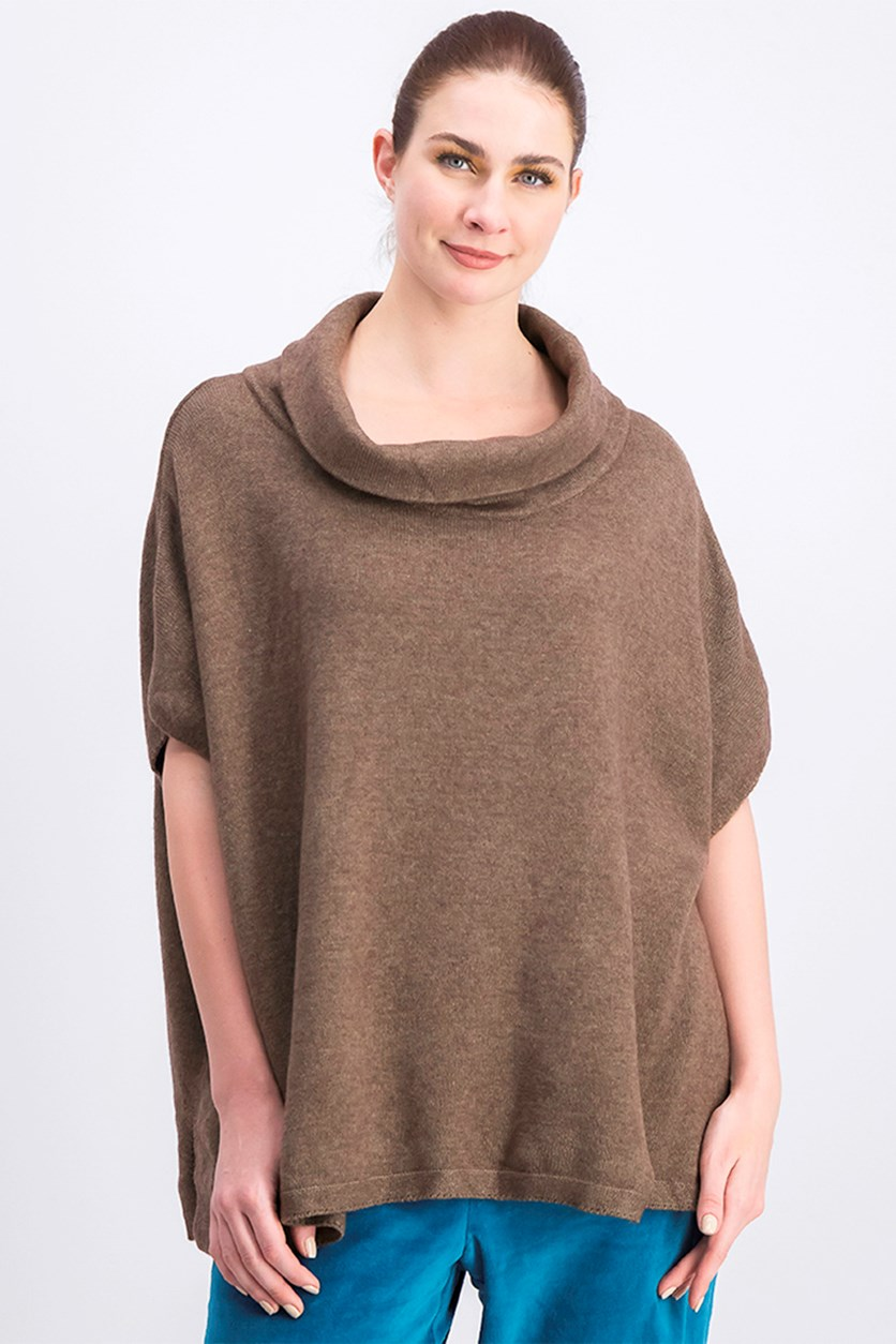 Women's Cowl Neck Sweater, Brown