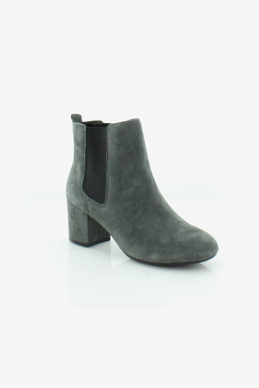 Women's Stockholder Boots, Dark Gray Suede