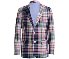 Tommy Hilfiger Big Boy's Plaid Blazer, Navy/Pink