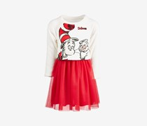 Little Girls Cat In The Hat Layered-Look Dress, Ivory