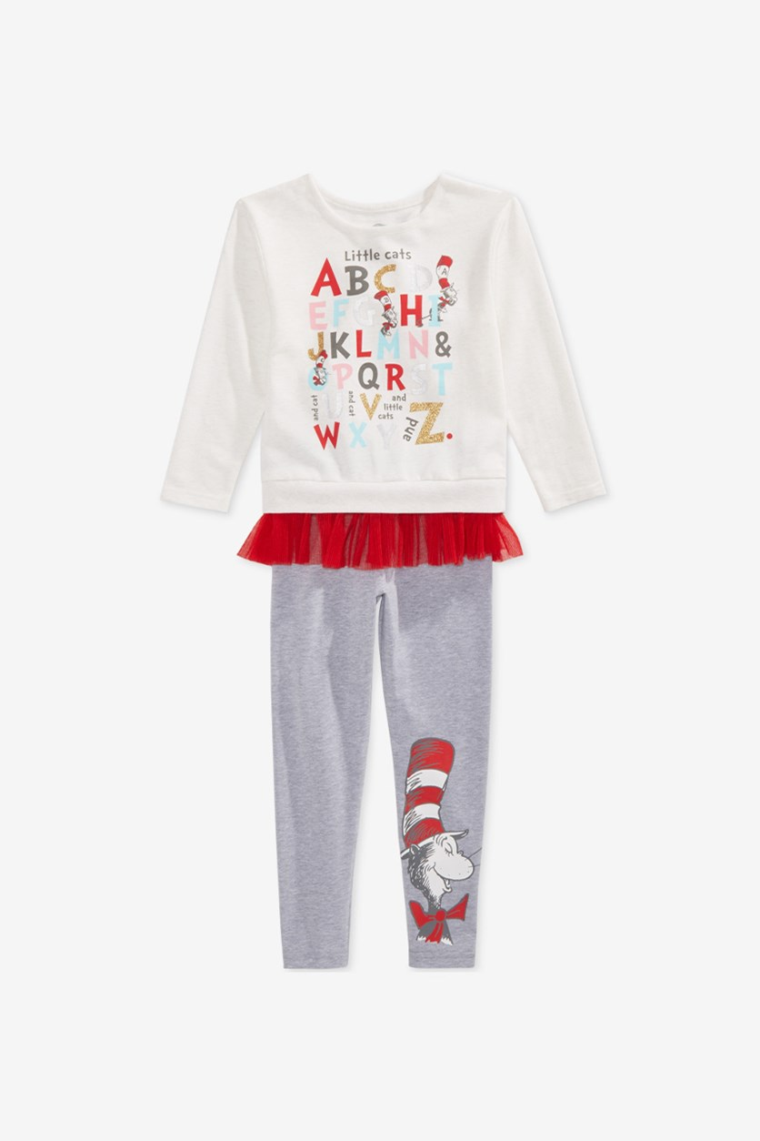Kids Girls 2-Pc Cat in the Hat Sweatshirt & Leggings Set, Ivory/Red