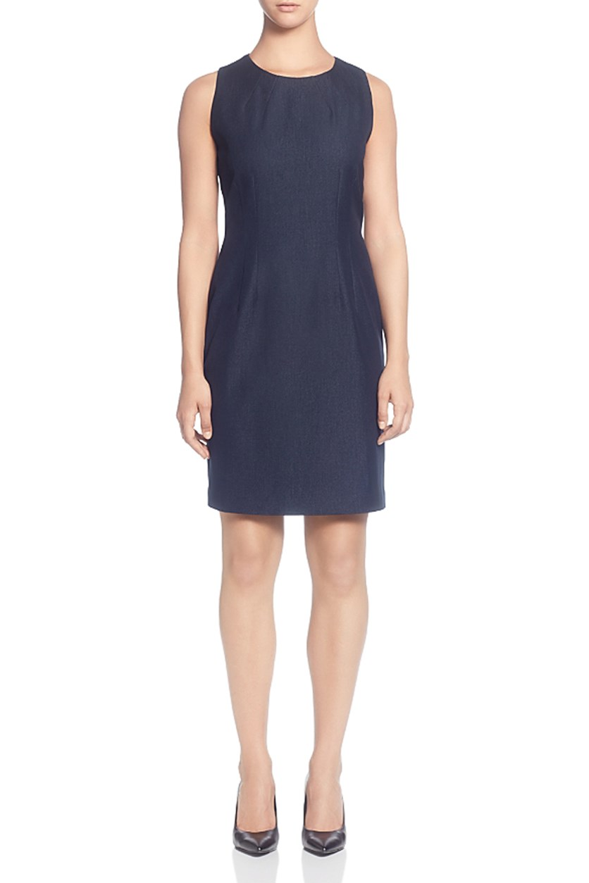 Women's Sleeveless Denim Sheath Dress, Navy