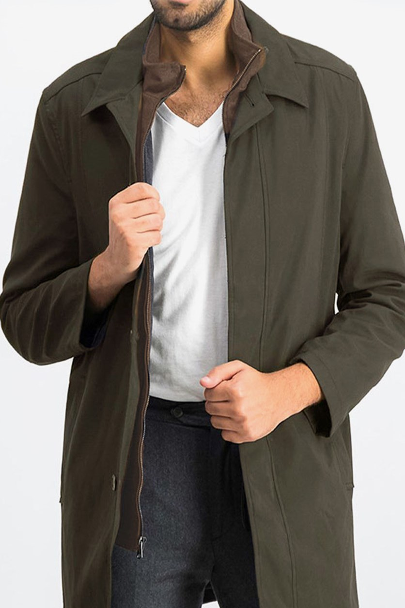 Men's Plain Double Closure Coat, Loden
