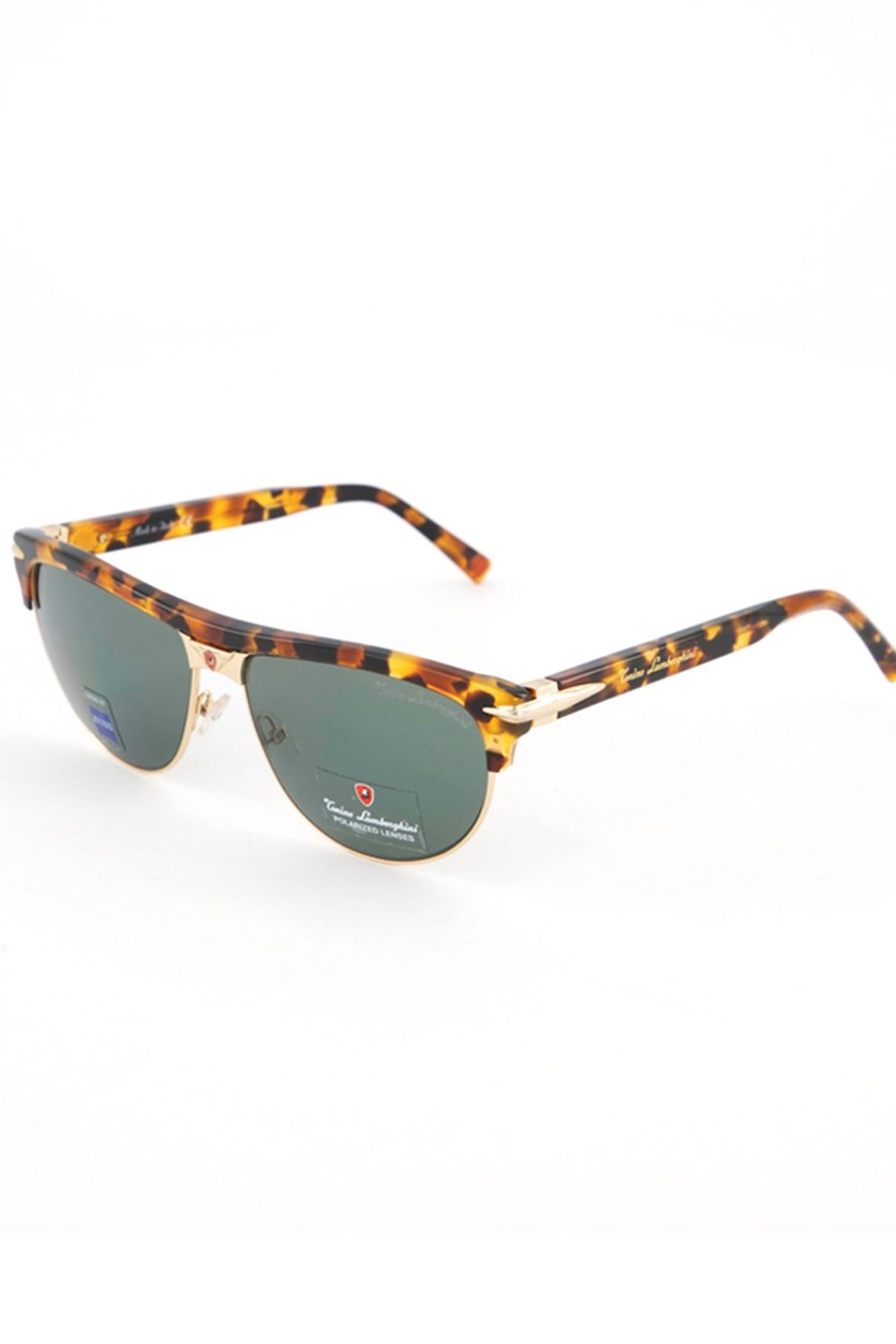 Women's Wayfarer Sunglasses, Havana Brown/Green