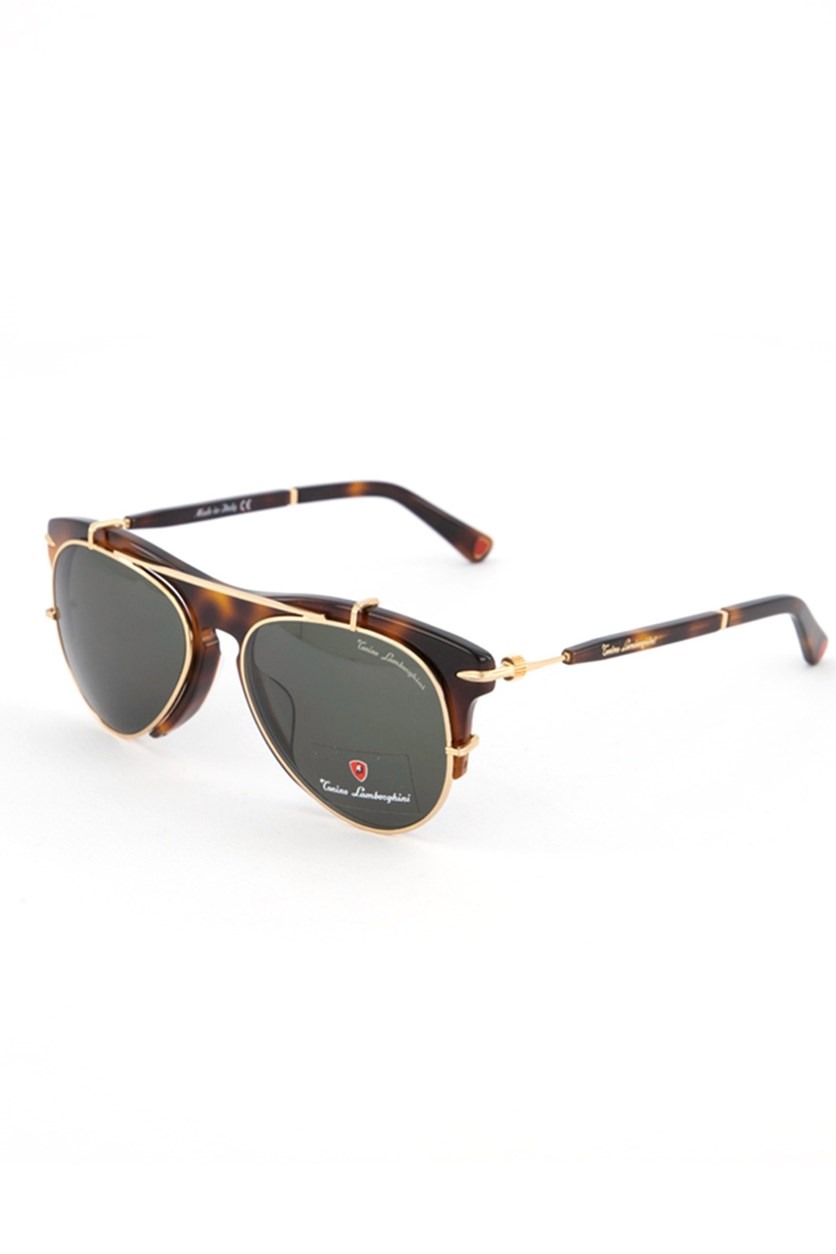 Women's TL588 Aviator Doublebridge Sunglasses, Havana Brown