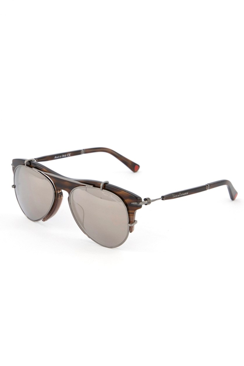 Women's TL588 Aviator Doublebridge Sunglasses, Havana Brown/Silver