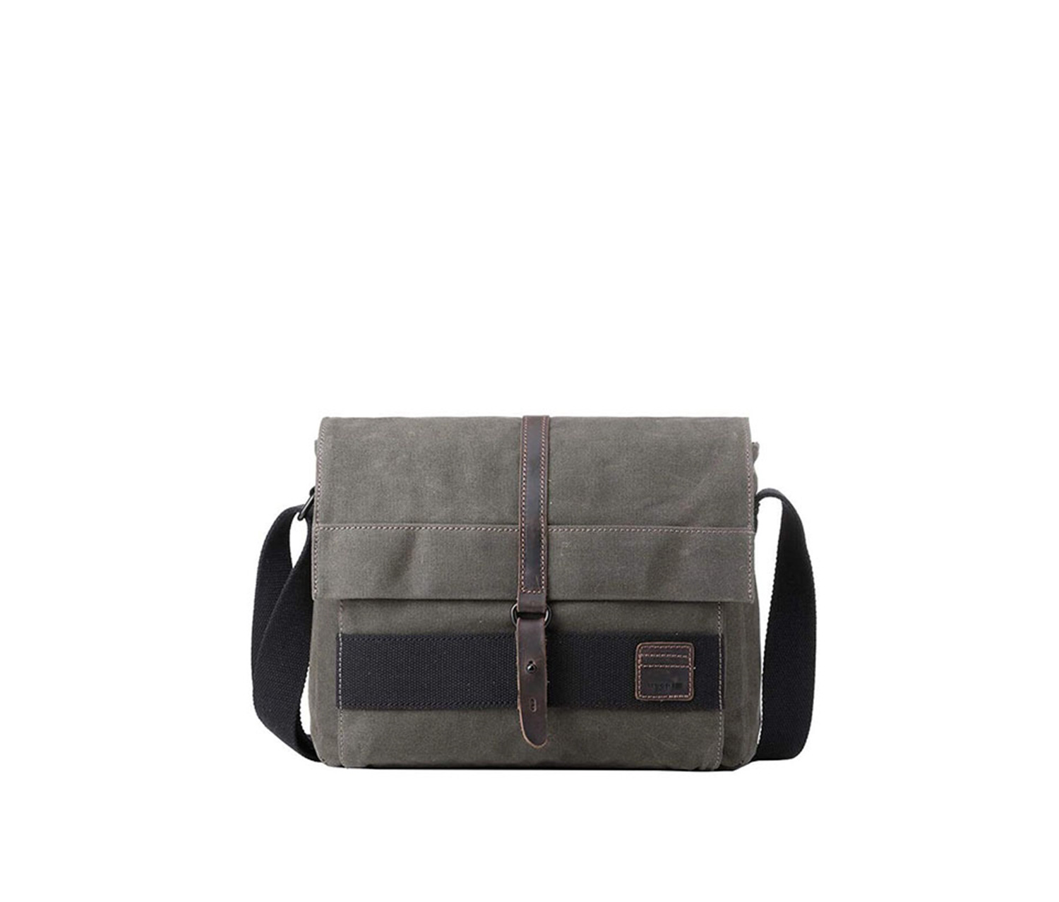 Troop London Heritage Canvas Messenger Bag Leather, Olive