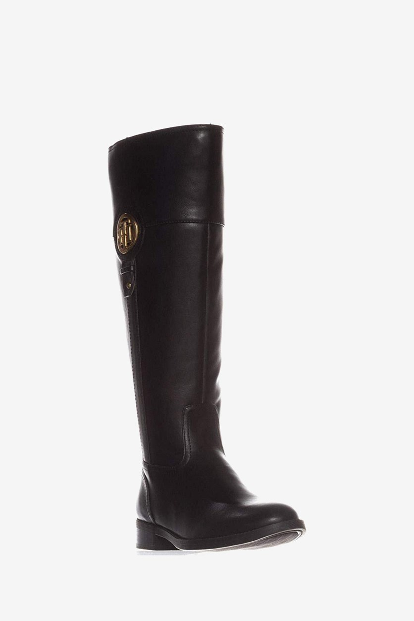 Women's Ilia 2 Wide Calf Faux Leather Riding Boots, Black
