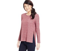 One Clothing Junior's Side-Slit Rib-Knit Top, Bordeaux
