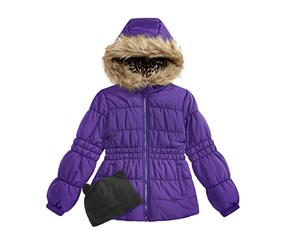 Weather tamer Big Girls Puffer Coat with Faux Fur Trimmed Hood, Purple