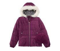Weathertamer Big Girls Quilted Puffer Jacket & Matching Hat, Purple