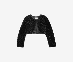 Big Girls Swirl Faux Fur Long Sleeve Jacket, Black