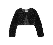 Bonnie Jean Toddler Girls Faux Fur Shrug, Black