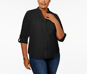 Ny Collection Women's Plus Size Roll-Tab-Sleeve Button-Down Shirt, Black