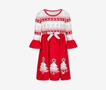 Little Girls Fair Isle-Print Dress, Red
