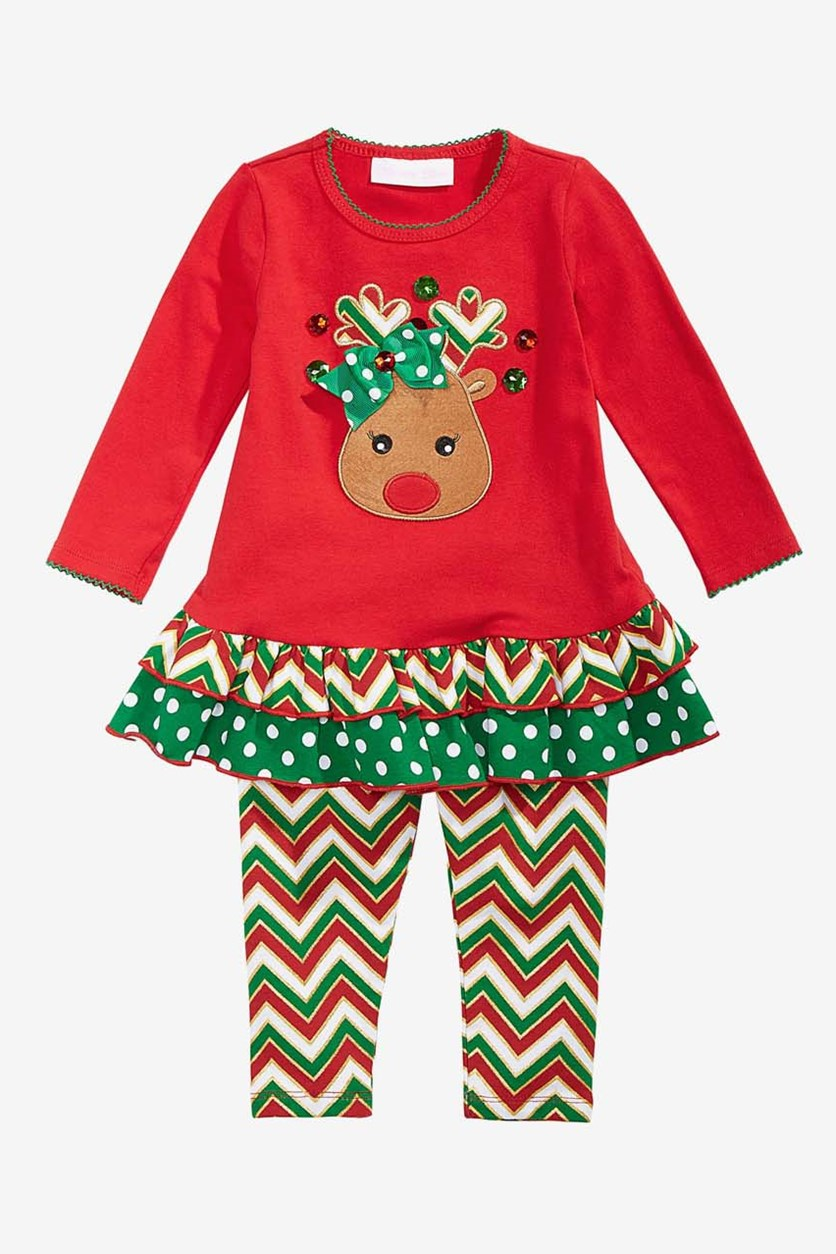 Baby Girls 2-Pc. Reindeer Tunic & Leggings Set, Red/Green