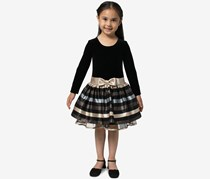 Bonnie Jean Little Girls Velvet Jacquard Striped Dress, Black