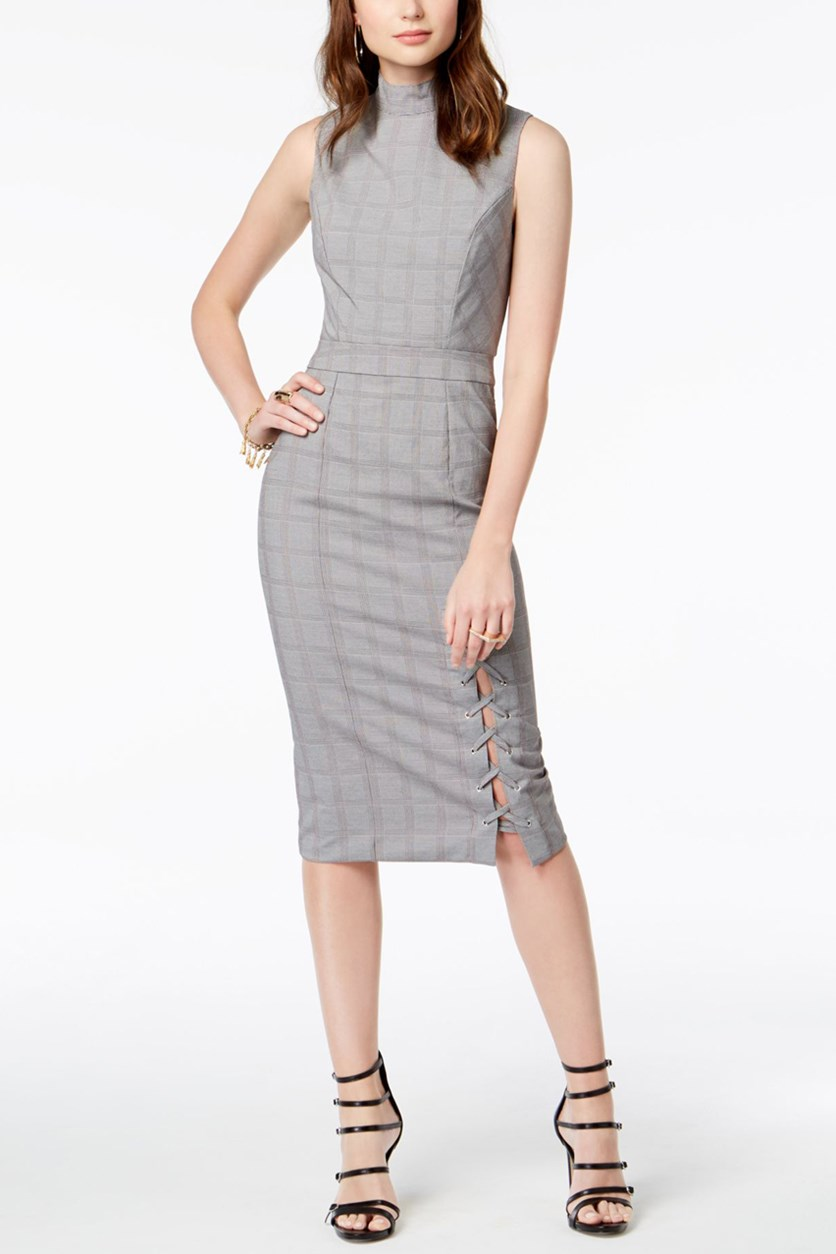 Womens Juniors Plaid Mock Neck Midi Dress, Grey