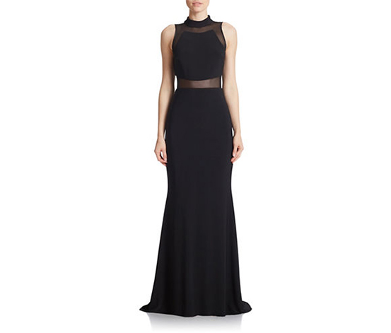 Betsy & Adam Women's Sleeveless Illusion Gown, Black